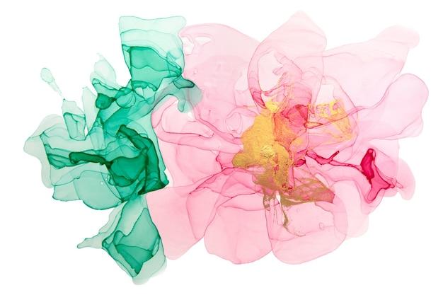 白い背景の水彩画の抽象的なピンクの花。