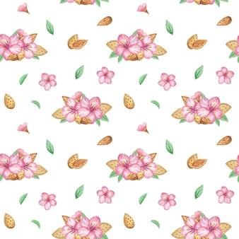 水彩アーモンドとピンクの花のシームレスパターン