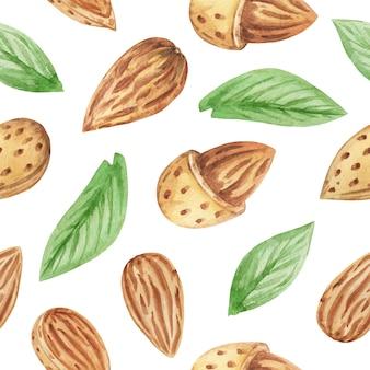 水彩アーモンドのシームレスなパターン、背景を繰り返すナッツ、アーモンドと葉のスクラップブック紙