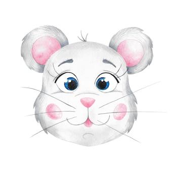 Акварель и цветные карандаши рисованной картинки лицо мыши. симпатичная серая мышь на белом фоне.