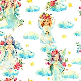 Коллекция акварельных ангелов