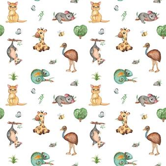 水彩動物のシームレスパターン、ジャングル、サファリ繰り返しパターン。カンガルー、キリン、エミューダチョウ、ポッサム、コアラ、カメレオン、熱帯植物。テキスタイルパターンデザイン、飾り