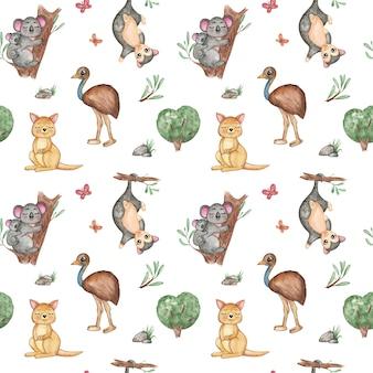 水彩動物のシームレスパターン、ジャングル、サファリ繰り返しパターン。カンガルー、キリン、エミューダチョウ、ポッサム、コアラ、カメレオン、熱帯植物