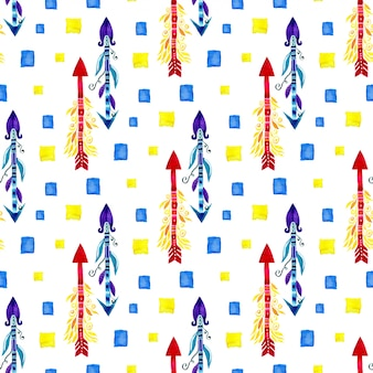 水彩矢印民族シームレスパターン。テキスタイルデザイン