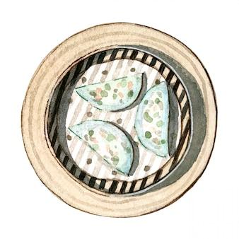 Watercolor asian food dim sum, prawn and chive dumplings, top view