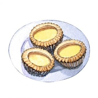 Watercolor asian food dim sum, sweet tart.