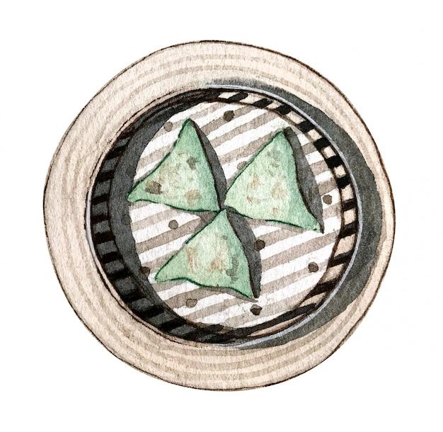 Watercolor asian food dim sum, top view