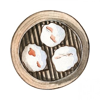 Watercolor asian food dim sum, top view