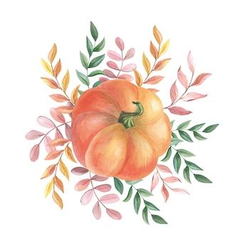수채화 가을 배열입니다. 흰색 바탕에 노란색, 녹색, 빨간색 잎이 있는 수채색 주황색 호박. 추수 감사절에 대 한 그림입니다. 신선한 수확입니다. 격리 된 손으로 그린된 스케치입니다.