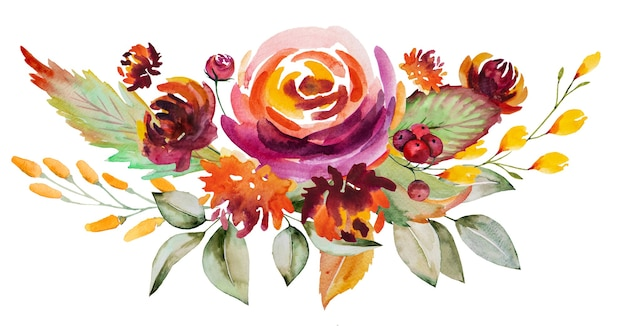 Watercolor autumn bouquet made of red, orange, green and yellow flowers and leaves isolated