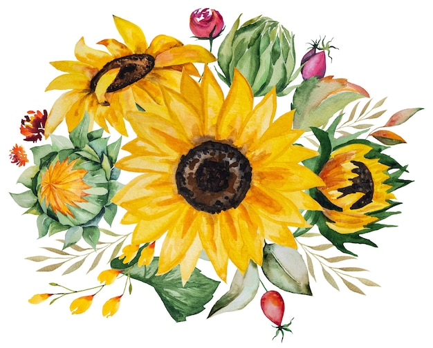 Watercolor autumn bouquet made of yellow sunflowers and leaves isolated