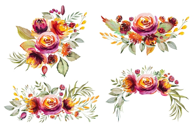 Watercolor autumn bouquets made of red, orange, green and yellow flowers and leaves isolated