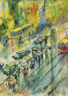 Watercolor autumn cityscape. painting street, people, rain, tram. hand drawn artistic illustration