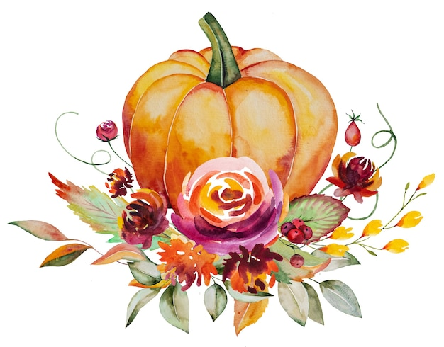 Watercolor autumn composition made of pumpkin, berries, colorful flowers and leaves isolated