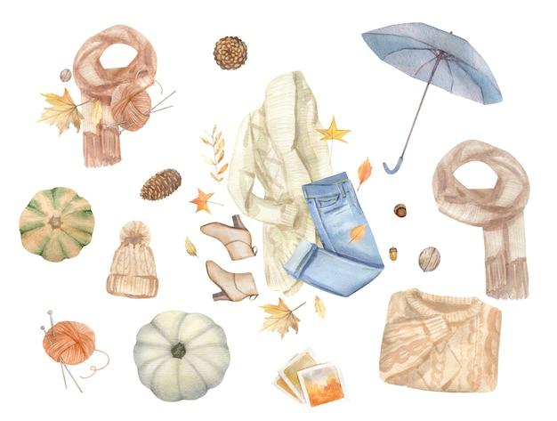Элементы дизайна акварель осень, осень, праздник картинки, изолированные на белом фоне.