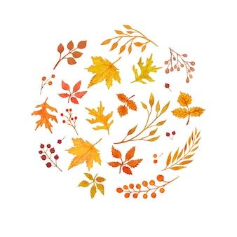 Watercolor autumn elements