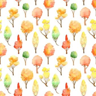 水彩の秋の森のシームレスなパターン。白地に紅葉。
