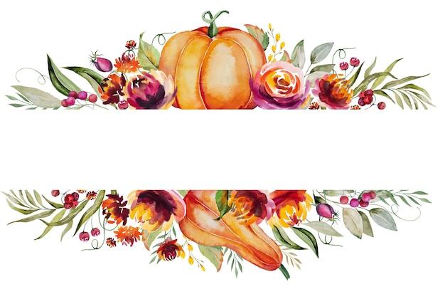 カボチャ、ベリー、色とりどりの花と葉で作られた水彩画の秋のフレームが分離されました