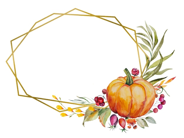 Watercolor autumn frame made of pumpkin, berries, colorful flowers and leaves isolated
