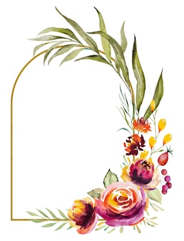 Watercolor autumn frame made of red, orange, green and yellow flowers and leaves isolated