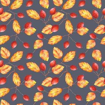 水彩の紅葉とベリーのシームレスなパターン。灰色の背景にオレンジと赤の植物プリント。テキスタイル、ファブリック、壁紙、包装紙、装飾用の花柄のデザイン。