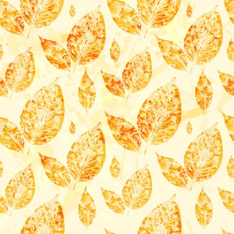Watercolor autumn leaves seamless pattern background