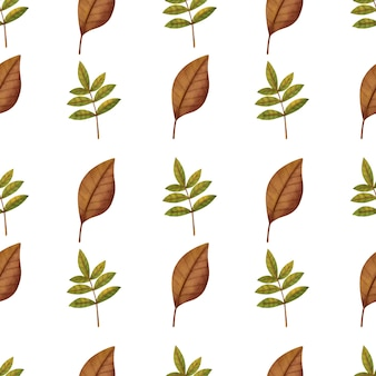 Watercolor autumn leaves seamless patterns