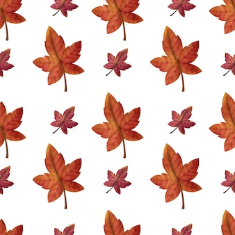 Watercolor autumn maple seamless patterns
