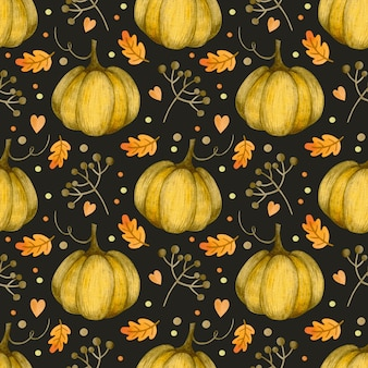 Акварель осень бесшовные модели на день благодарения хэллоуин привет октябрь день тыквы