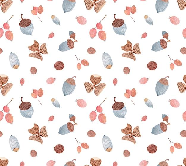 Акварель осень бесшовные модели с ветвью ягод боярышника желудей, изолированные на белом фоне
