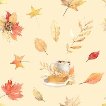 Акварель осень бесшовные модели с ручной росписью уютные символы осеннего сезона.