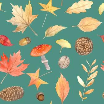 Акварель осенний бесшовный фон с ручной росписью уютные символы осеннего сезона