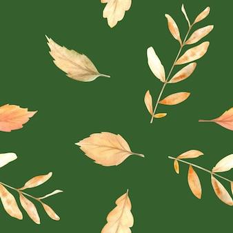 秋の季節の手描きの居心地の良いシンボルと水彩画の秋のシームレスなパターン。