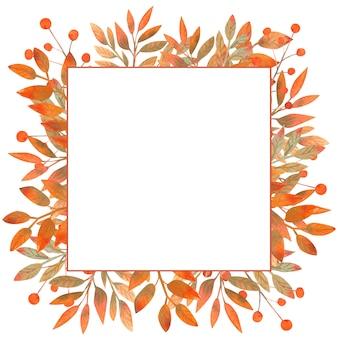 잎의 수채화가 사각형 프레임