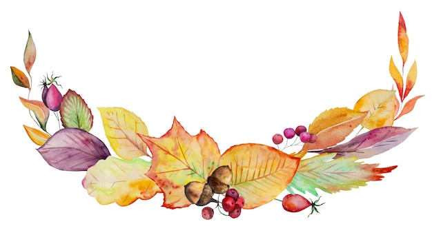 Watercolor autumn wreath made  yellow, red and orange autumn leaves isolated