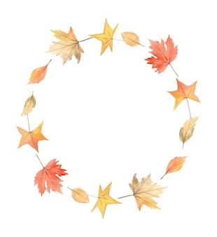 葉の水彩画の秋の花輪。サークルフォールフレーム。感謝祭のカード、招待状に最適です。