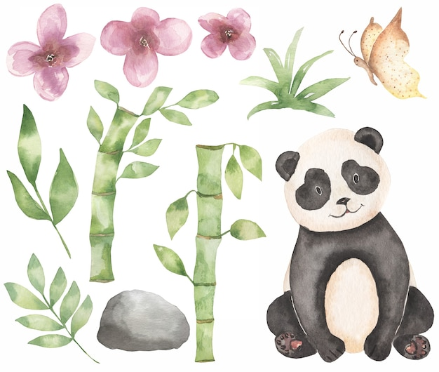 水彩の赤ちゃんパンダのクリップアート。サファリ動物、竹の花束、熱帯の花輪、森のクマのクリップアート、ベビーシャワー、子供の誕生日パーティー