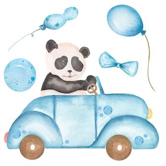 水彩の赤ちゃんパンダが車のイラストを運転します。サファリ動物のクリップアート、青い風船、森のクマのクリップアート、ベビーシャワーのグラフィック、子供の誕生日パーティーカード、青い輸送