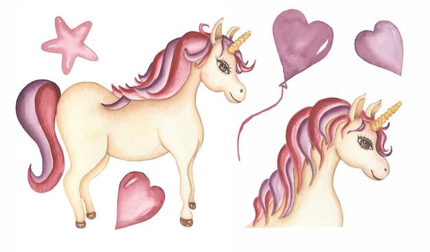 Акварель baby unicorn клипарт. маленькая розовая лошадь животное иллюстрация, сердца и воздушный шар, картинки животных волшебный лес, детский душ, детский день рождения