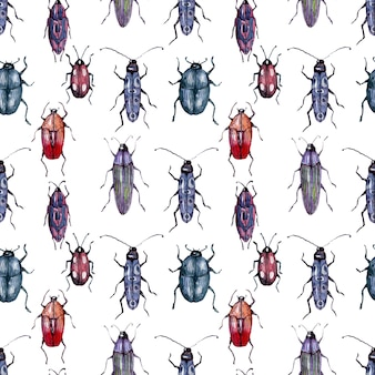 Watercolor background drawing collection of beetles