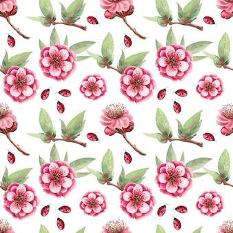 Watercolor background drawing flowers