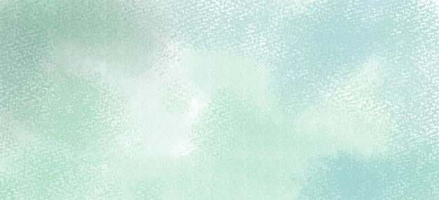 Watercolor background in green and blue colors, soft pastel color splash and blotches with fringe bleed painting in abstract clouds shapes with paper