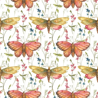 Watercolor background of hand drawn cute bright butterflies moths and colorful wildflowers