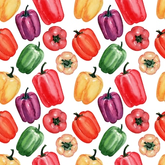 Watercolor background image of fresh peppers
