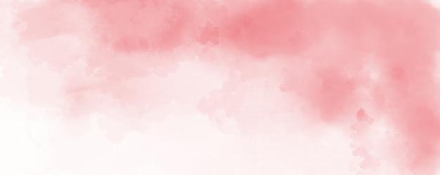 赤い色の水彩画の背景、柔らかいパステルカラーのスプラッシュと紙の抽象的な雲の形のフリンジブリード絵画のしみ