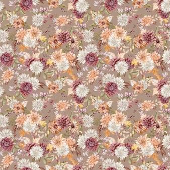 Акварельный фон из малиновых, белых и оранжевых астр и хризантем. осенние цветы бесшовные модели. осенний фон. открытка на день рождения