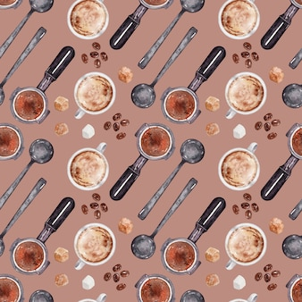 Watercolor background pattern coffee