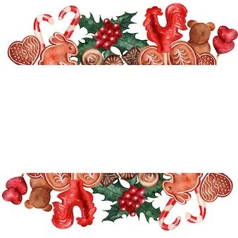 水彩背景画像クリスマスホリデーお菓子