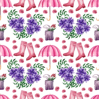 Watercolor background picture spring rain