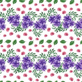 Watercolor background purple flowers